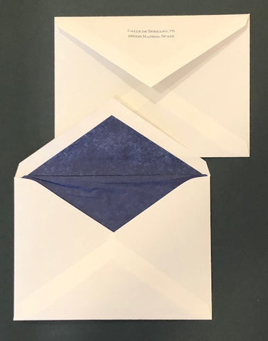 Bespoke Stationery | Envelope Only with Lining and Return Address | Hand Engraved | Sterling and Burke Ltd-Custom Stationery-Sterling-and-Burke