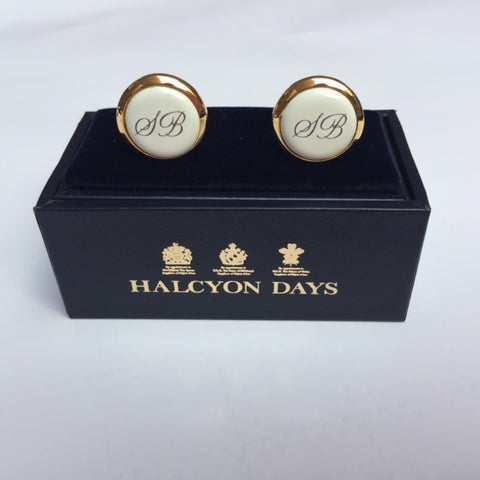 Halcyon Days Custom Monogram Enamel Cufflinks-Cufflinks-Sterling-and-Burke