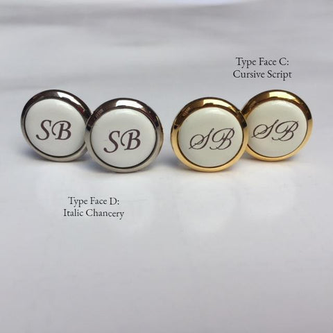 Halcyon Days Custom Monogram Enamel Cufflinks