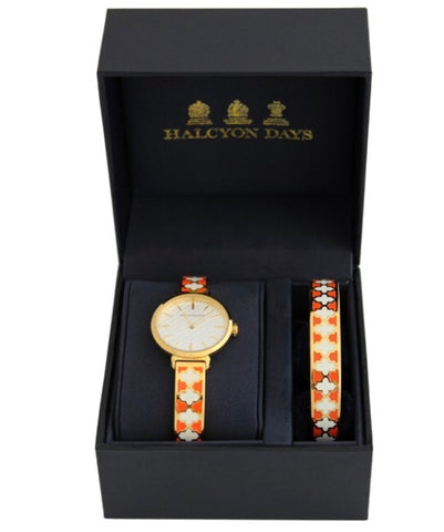 Agama Bangle Strap Ladies Watch and Agama Bangle Set | Orange and Gold Enamel | Halcyon Days | Made in England