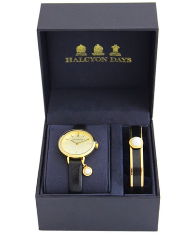 Agama Pearl Charm Leather Strap Ladies Watch and Cabochon Pearl Bangle Set | Black Enamel on Gold | Halcyon Days | Made in England