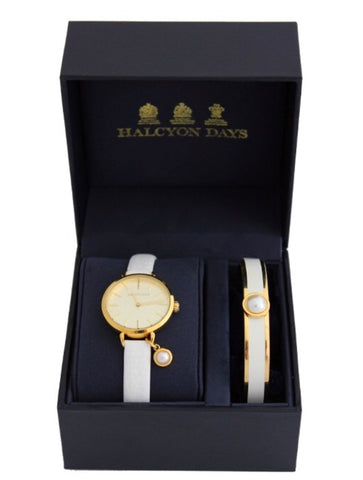 Halcyon Days Agama Leather Strap Pearl Charm Watch and Cabochon Pearl Enamel Bangle Set in Cream and Gold