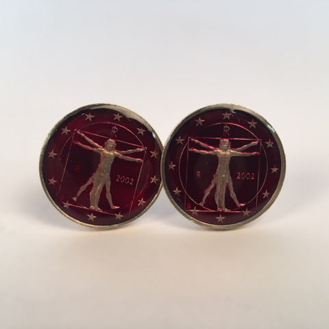 Italy Coin Cufflinks | Italia Da Vinci One Euro Coin Cufflinks | Hand Painted | Hand Enameled | Made in USA by Sterling and Burke | Red