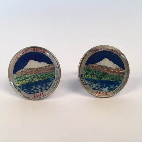 Hand Painted Authentic Coin Cufflinks | Oregon State Mount Hood Quarter Cufflinks | Sterling and Burke | Made in USA