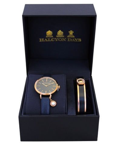 Agama Pearl Charm Leather Strap Watch and Sparkle Button Bangle Set, Navy and Rose Gold | Halcyon Days | Made in England