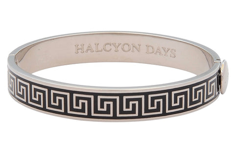 Maya Plain Bangle Strap Watch and Greek Key Bangle Set | Black and Palladium | Halcyon Days | Made in England-Watch / Bangle Set-Sterling-and-Burke