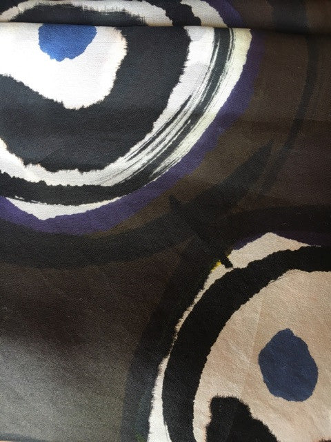 Hand Painted Silk Scarf | One of a Kind Black Art Scarf | Black Ying Yang Square 44 x 44"