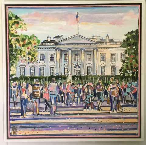 "Art | White House | Original Oil Painting on Wood by Joanna Tyka | 24"" x 24"""