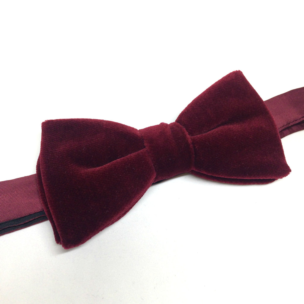 Velvet Pre-Tied Bow Tie, Burgundy | Velvet Tie | Benson and Clegg | Made in England-Bow Tie-Sterling-and-Burke