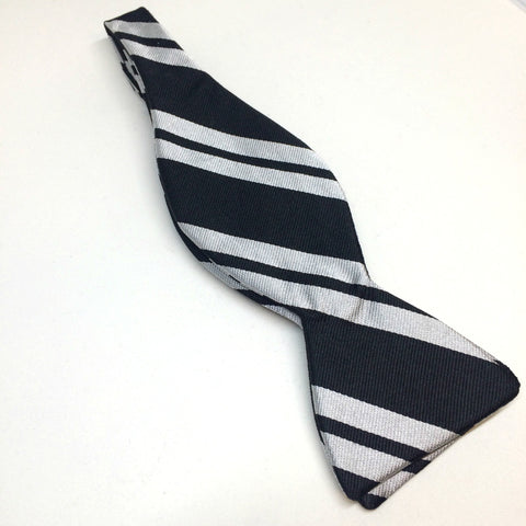 Black and Silver Striped Silk Bow Tie