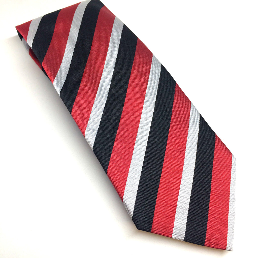 Stripe Silk Tie in Silver, Black & Red-Necktie-Sterling-and-Burke