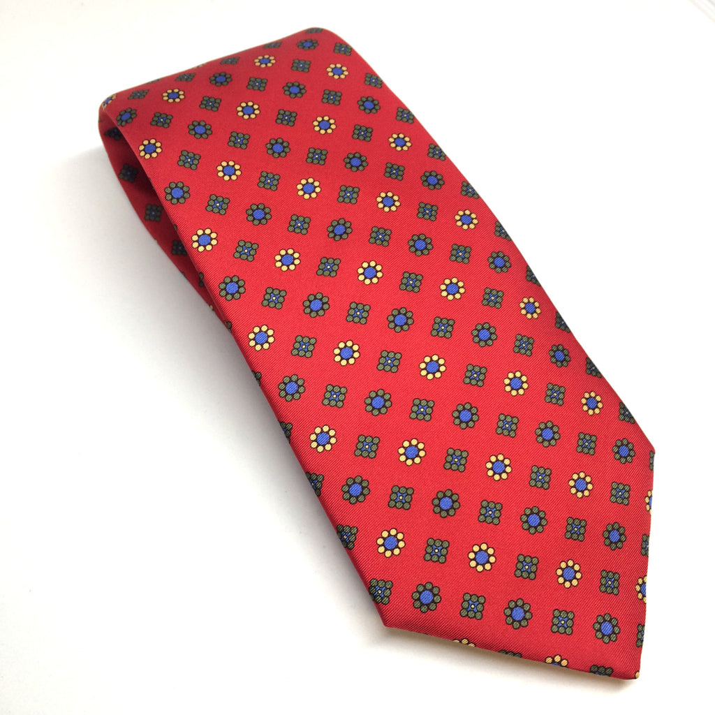 Printed Silk Twill Tie, Red | Silk Tie | Benson and Clegg | Made in England-Necktie-Sterling-and-Burke