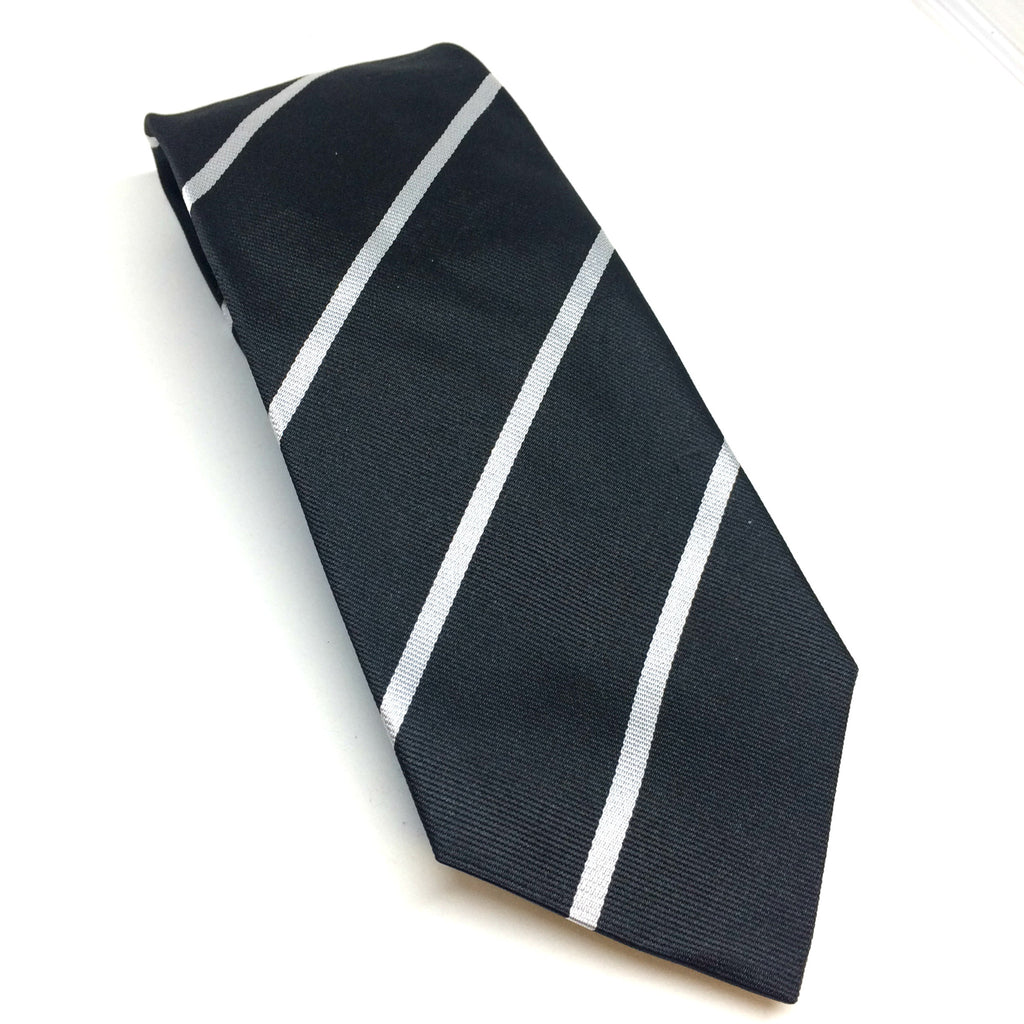 Piccadilly Stripe Silk Tie, Black and Silver | Silk Tie | Benson and Clegg | Made in England-Necktie-Sterling-and-Burke