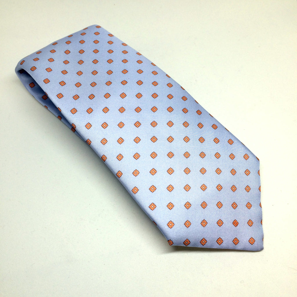 Printed Silk Twill Tie | Light Blue | Benson and Clegg | London-Necktie-Sterling-and-Burke