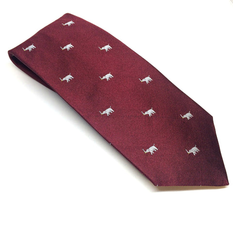 Republican Elephant, Burgundy and Silver | Silk Tie | Benson and Clegg | Made in England-Necktie-Sterling-and-Burke