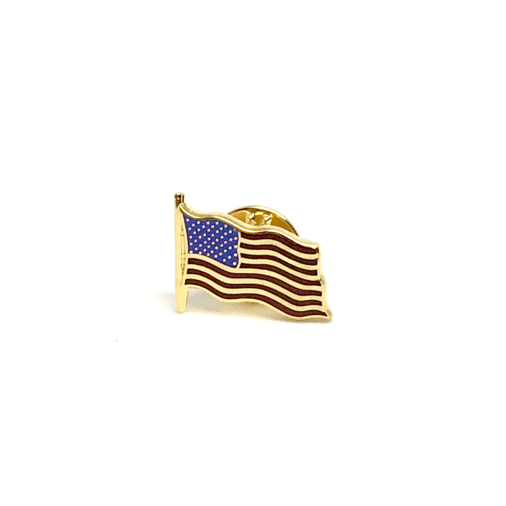 American Flag Lapel Pin | Waving US Flag Pin | Gold Plate | Made in England-Lapel Pin-Sterling-and-Burke