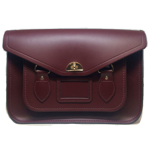 Double Handle Large Twist Lock Satchel, Oxblood