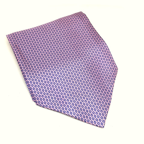 Silk Cravat in Pink & Blue Buckle Pattern
