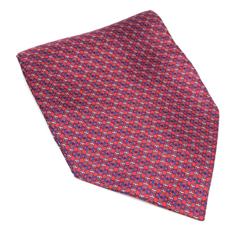 Silk Cravat in Red & Blue Buckle Pattern