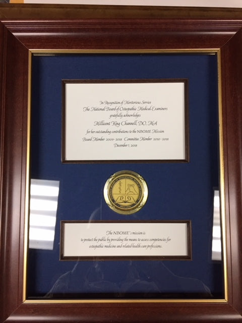 Bespoke Awards for NBOME | Awards in Gold / Wood Frame | Superior Quality Bespoke Award | Custom Framed Award | Certificate | Sterling and Burke-Award-Sterling-and-Burke