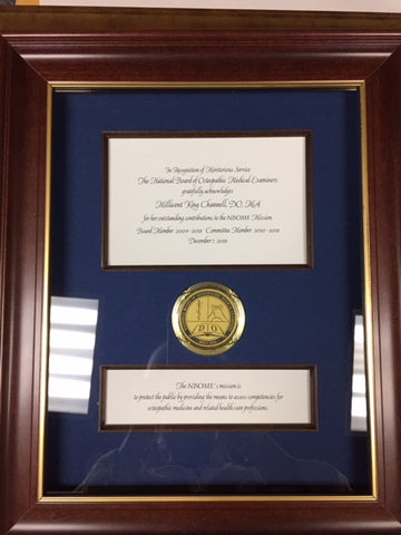 Bespoke Awards for NBOME | Awards in Gold / Wood Frame | Superior Quality Bespoke Award | Custom Framed Award | Certificate | Sterling and Burke