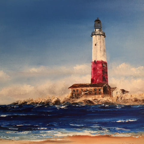 Commissioned Art | Original Oil Painting | Ocean and Lighthouse | Claire Howard | Single Horizontal Painting | 15 by 31 Inches