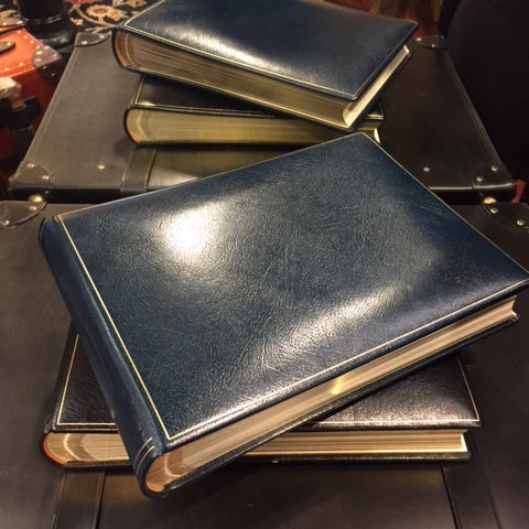 Custom Order for the Segura Family - Charing Cross Photo Album | Calf Leather | Navy | 15 1/2 by 11 Inches | Made in England