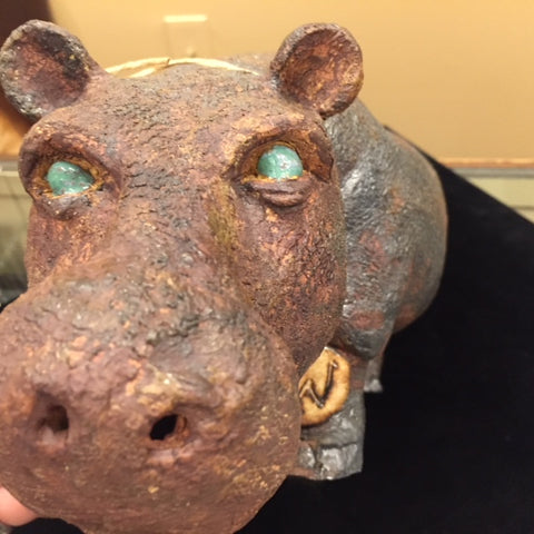 "Ceramic | Large GW Hippo with Translucent Celadon Green Eyes by Trinka Roeckelein | 16"" x 7""-Ceramics-Sterling-and-Burke"