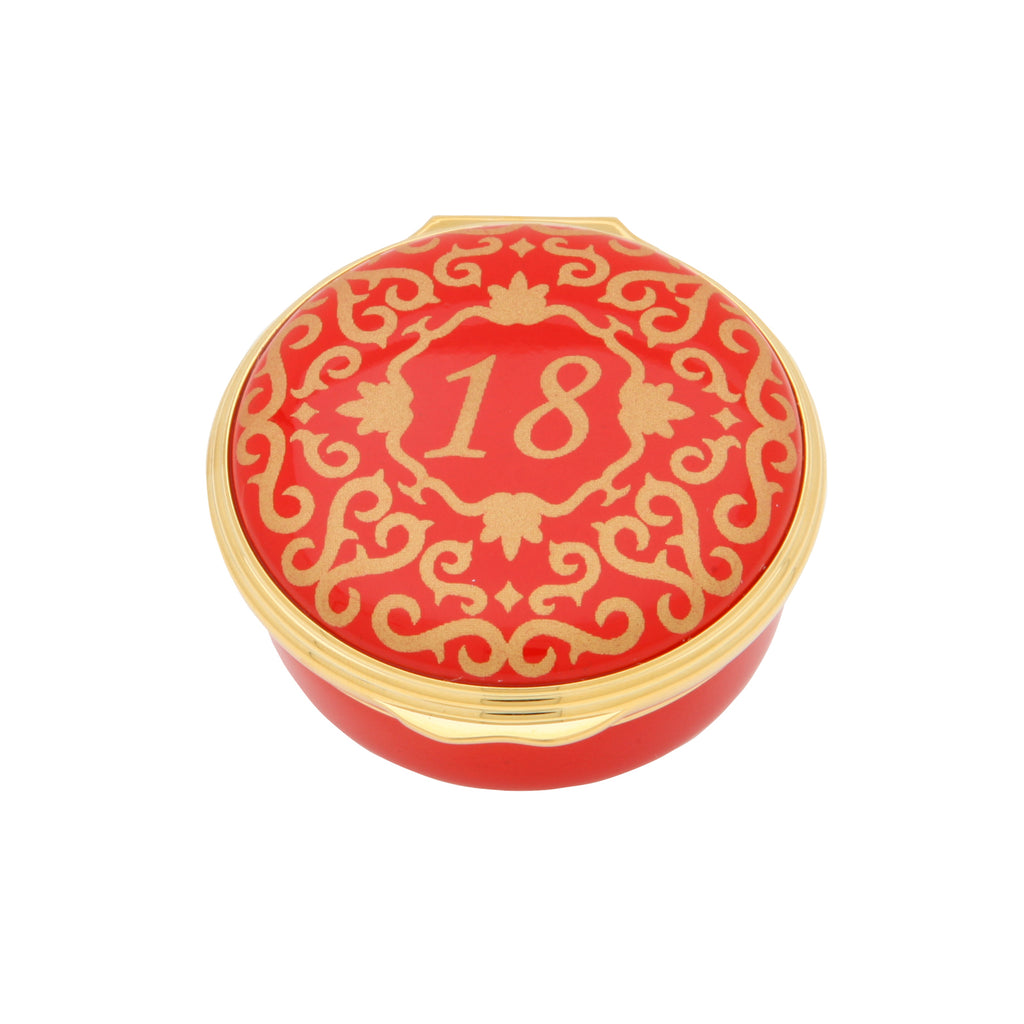 "Halcyon Days ""Number 18"" Enamel Box in Red-Enamel Box-Sterling-and-Burke"