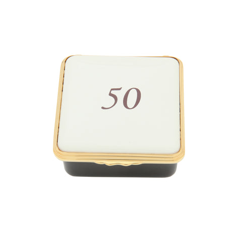 "Halcyon Days ""Number 50"" Enamel Box in Ivory"