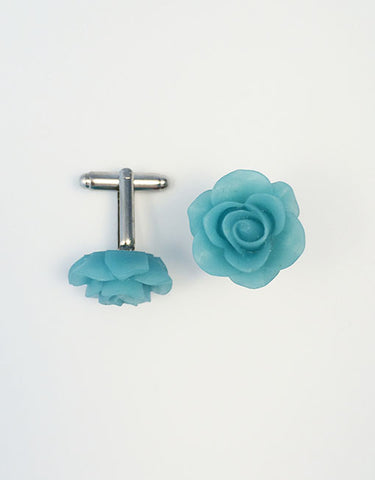 Flower Cufflinks | Ice Blue Floral Cuff Links | Matte Finish Cufflinks | Hand Made in USA