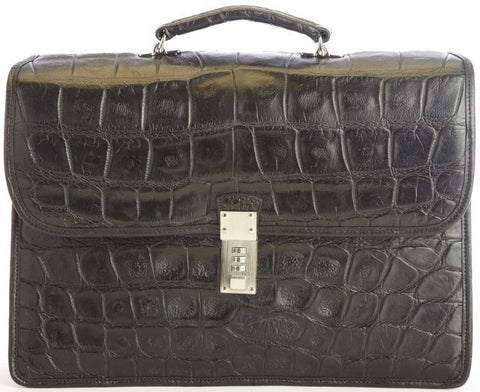 Elliot Alligator Double Gusset Flap Over Brief Bag