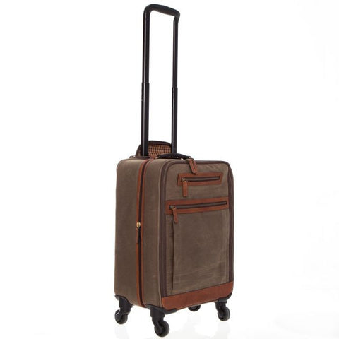 Emerson Waxed Canvas and Leather Wheeled Carry On-Wheeled Luggage-Sterling-and-Burke