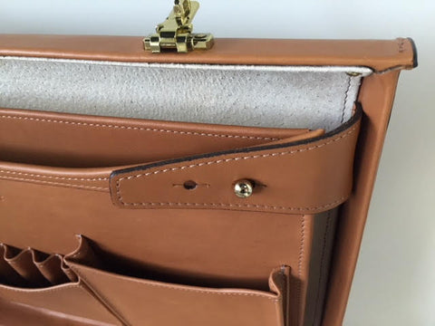 Attache Case | Belting Leather | Monroe Classic | 5 Inch Attache | Korchmar | Black or Tan-Korchmar Business-Sterling-and-Burke