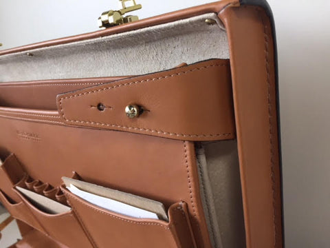 Attache Case | American Belting Leather | Monroe Classic | 4 Inch Leather Attache Brief Case | Monogram with Initials | Korchmar | Tan or Black-Attache-Sterling-and-Burke