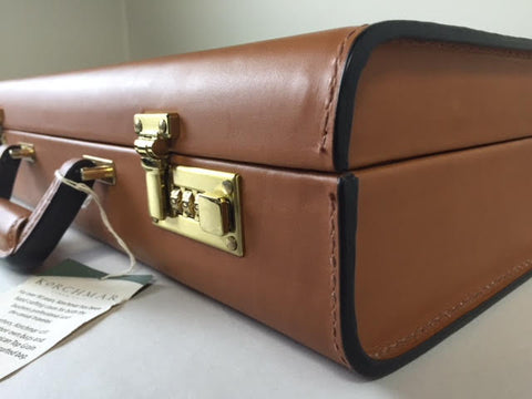Attache Case | American Belting Leather | Monroe Classic | 4 Inch Leather Attache Brief Case | Monogram with Initials | Korchmar | Tan or Black