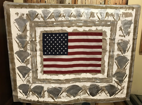 Original Oil Painting with Authentic 50 Star American Flag | Abstract Patriotic Art | 39 by 32 inches | Laura Roosevelt | No.259-Mixed Media-Sterling-and-Burke