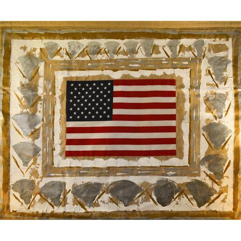 "Burlap Flag No.259 | Original Oil Painting with 50 Star American Flag on Burlap by Laura Roosevelt | 32"" x 39"""