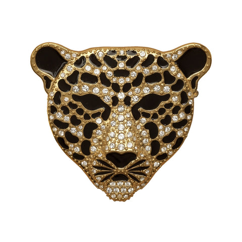 Leopard Head Sparkle Brooch | Black and Gold | Halcyon Days | Made in England