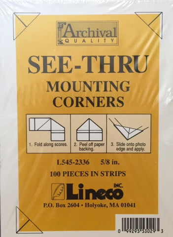 Photo Corners, Clear (See-Thru) Mounting Corners by Lineco - Size 5/8 inch-Photo Corners-Sterling-and-Burke