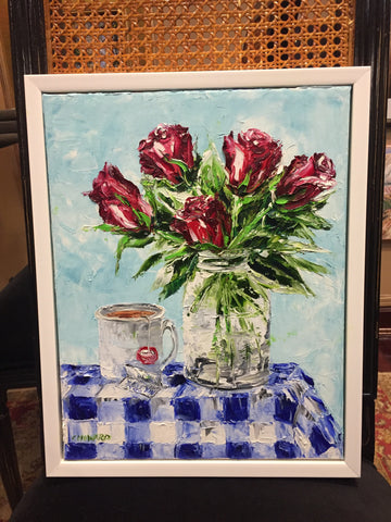 "Art | I Love You Roses I Original Oil Painting by Claire Howard | 14"" x 11"""