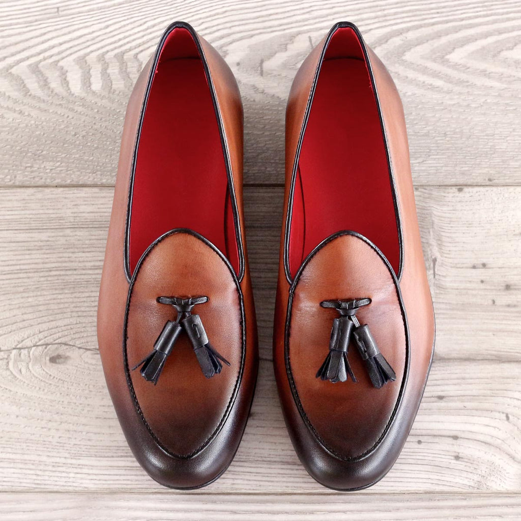 Custom Luxury Belgian Slipper Shoes | MTO in Spain | Black Calf and Cognac Painted Calf with Leather Trim and Bow | Extraordinary Quality | Sterling and Burke-Bespoke Shoes-Sterling-and-Burke