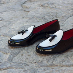 Custom Luxury Belgian Slipper Shoes | MTO in Spain | Black Patent Leather Calf with White Suede Leather Trim and Bow | Extraordinary Quality | Sterling and Burke-Bespoke Shoes-Sterling-and-Burke