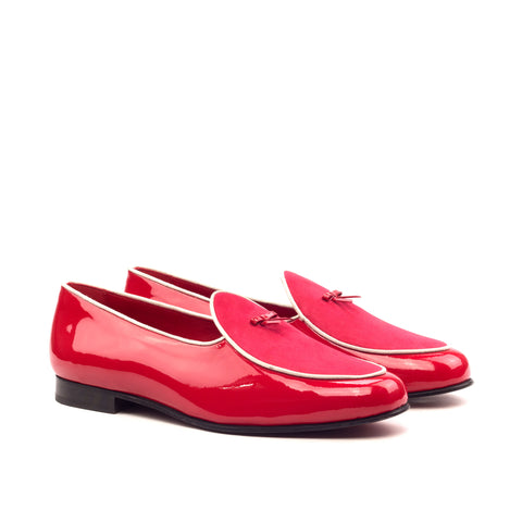 Custom Luxury Belgian Slipper Shoes | MTO in Spain | Red Suede Leather Calf with White Leather Trim and Bow | Extraordinary Quality | Sterling and Burke-Bespoke Shoes-Sterling-and-Burke