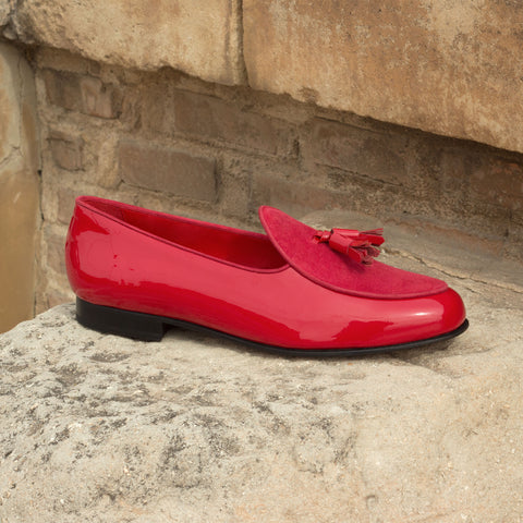Custom Luxury Belgian Slipper Shoes | MTO in Spain | Red Patent Leather Calf with Red Leather Trim and Bow | Extraordinary Quality | Sterling and Burke-Bespoke Shoes-Sterling-and-Burke