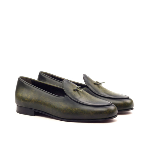 Custom Belgian Slipper Shoes | Khaki Crust Patina Calf Leather with Calf Leather Trim and Bow | Extraordinary Quality | Sterling and Burke-Bespoke Shoes-Sterling-and-Burke