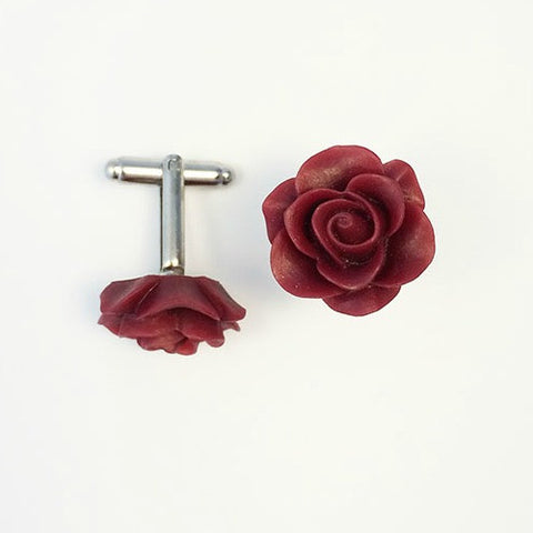 Flower Cufflinks | Maroon Floral Cuff Links | Matte Finish Cufflinks | Hand Made in USA