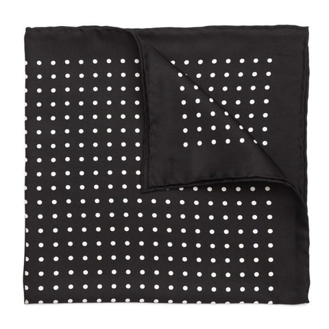 Budd Medium Spot Pocket Square in Black and White-Pocket Square-Sterling-and-Burke
