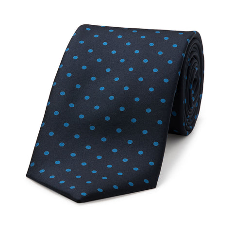 Medium Spot Foulard Neck Tie | Navy and Blue Silk | Made in England by Budd Shirts