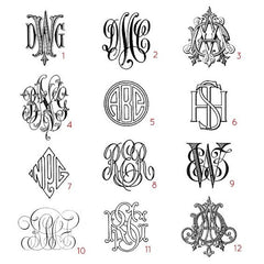 Bespoke Monogram Samples | Custom Victorian Monograms | Hand Engraved Stationery and Invitations | Elegant Monogram Examples-Stationery-Sterling-and-Burke